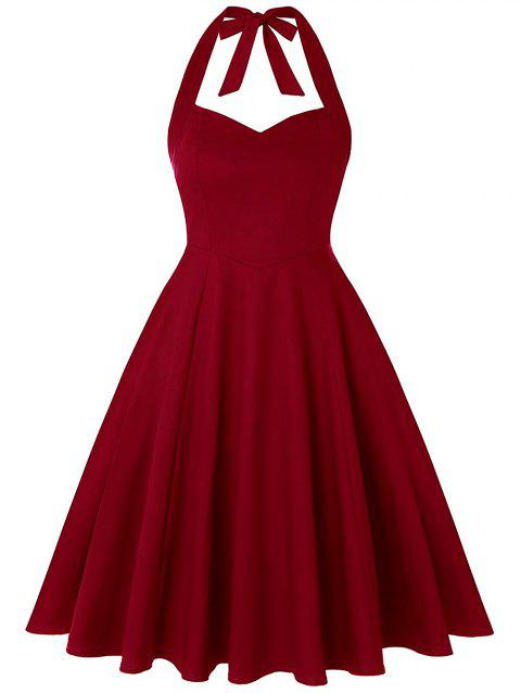 Plus Size Vintage Halter Open Back Pin Up Dress - RED WINE 4X