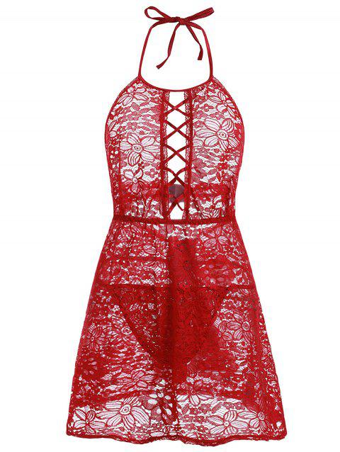 Halter Lattice Lace Plus Size Babydoll with G-string - RED 4X
