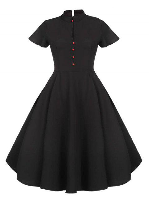 Plus Size Vintage Buttons Pin Up Dress