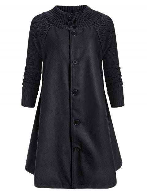 Button Up Raglan Sleeves Knitted Panel Coat