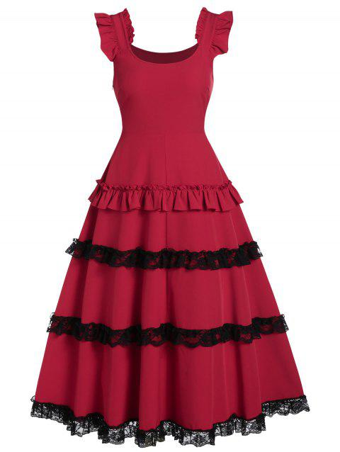 Lace Up Shirred Zippered Fit And Flare Vintage Dress - LAVA RED M