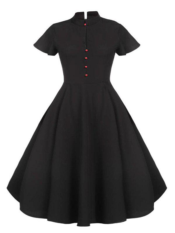 Plus Size Vintage Buttons Pin Up Dress - BLACK 4X