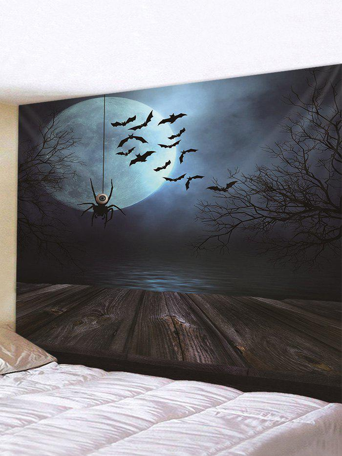 Halloween Wooden Spider Bat Printed Pattern Tapestry - multicolor A 150*130CM