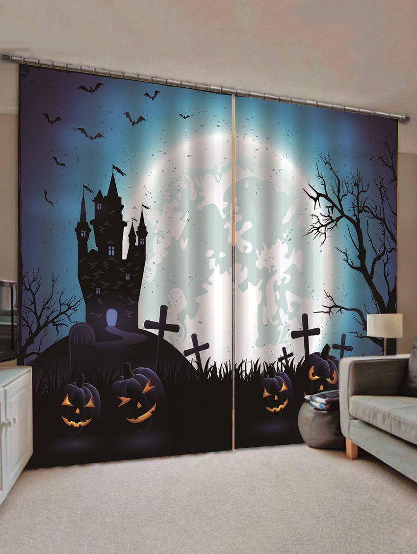 2PCS Halloween Pumpkin Castle Bat Pattern Window Curtains - multicolor C W70×L100CM×2PCS