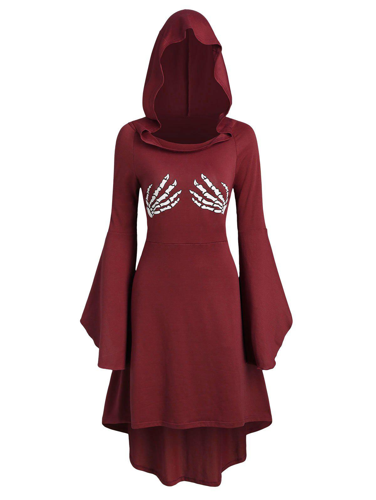 Skeleton Print Lace Up Halloween Hooded Dress - RED WINE M