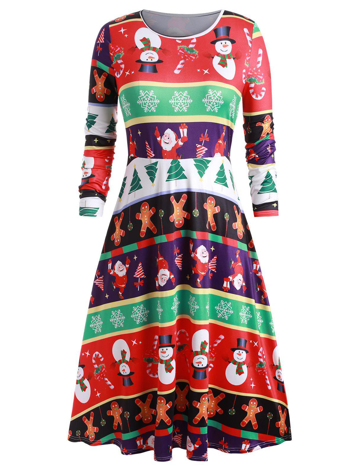 Plus Size Christmas Printed Midi Swing Dress - multicolor A 2X
