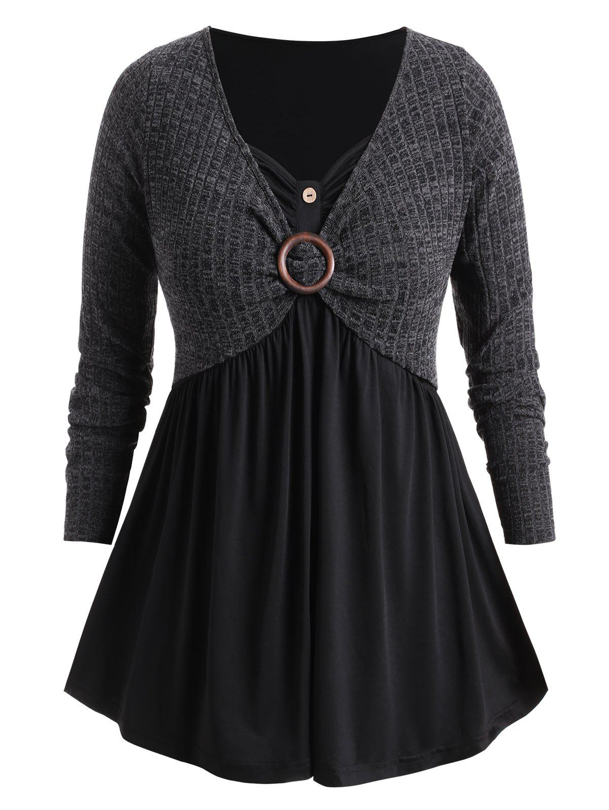 Plus Size O Ring Faux Twinset Marled Knitwear - CARBON GRAY 3X