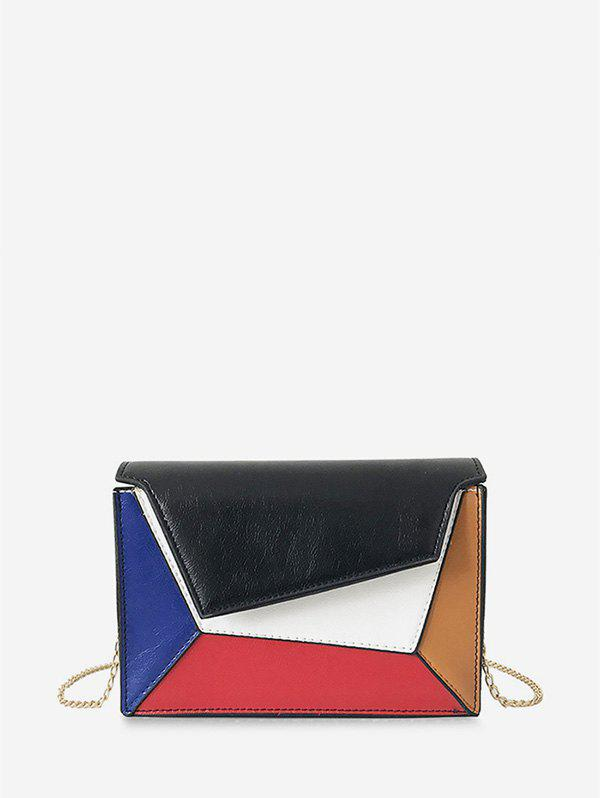 Color Block Geometric Chain Crossbody Bag - BLACK