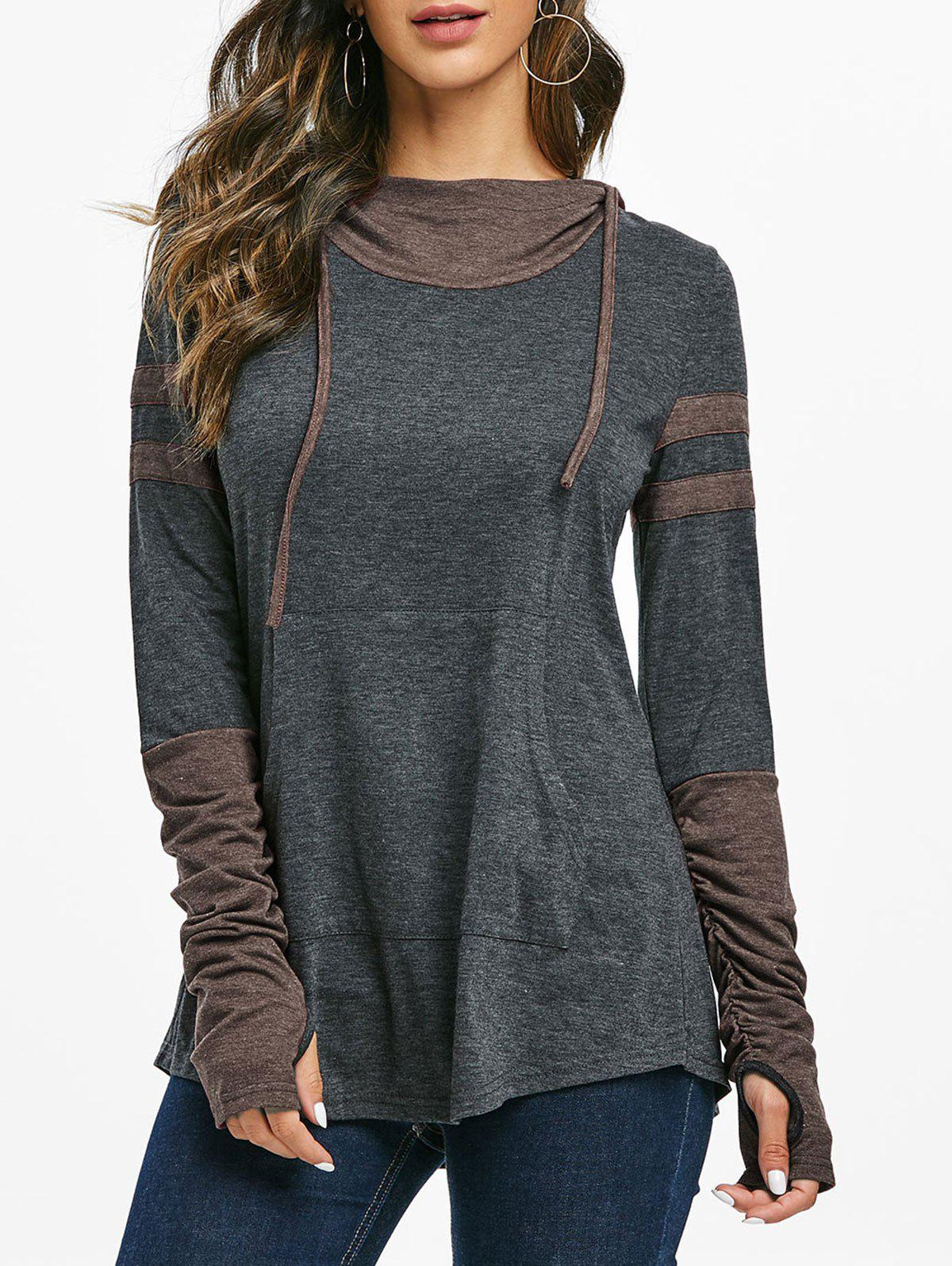Hooded Kangaroo Pocket Ruched Contrast Heathered T-shirt - COFFEE S
