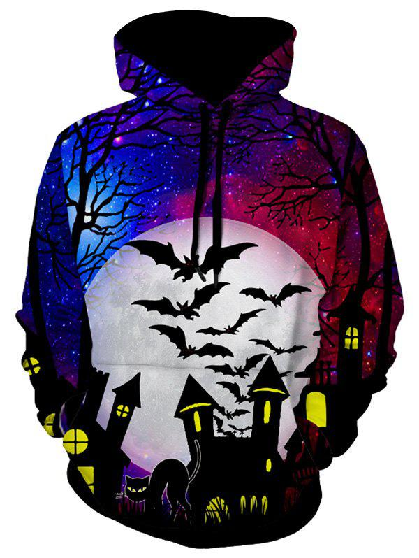 Sweat à Capuche d'Halloween Motif de Chat et de Chauve-souris - multicolor A L