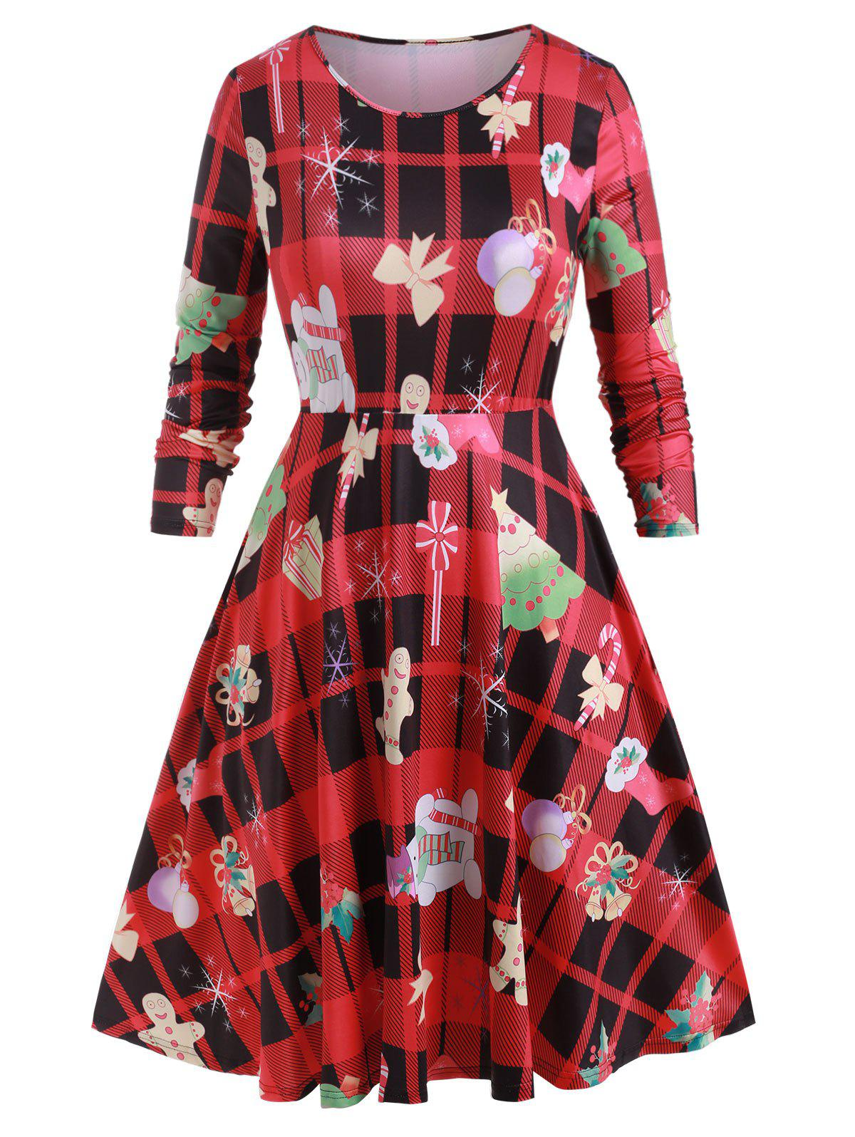 Plus Size Christmas Print Midi Flare Dress - multicolor A 4X