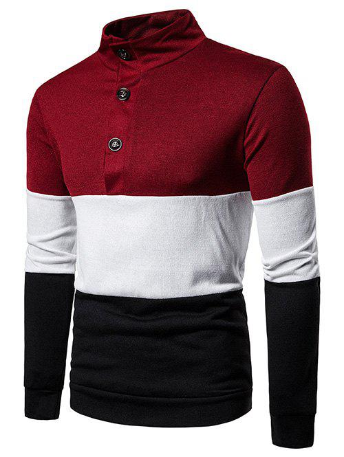 Color Block Stand Collar Half Button Sweater - RED L