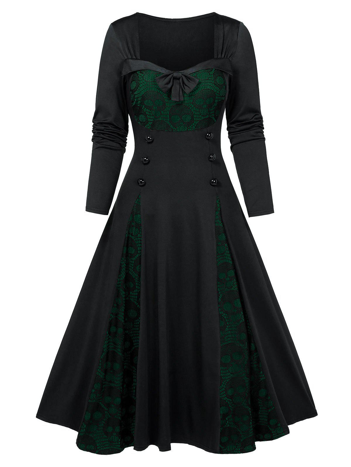 Halloween Skull Lace Insert Mock Button Bowknot Dress - DARK FOREST GREEN S