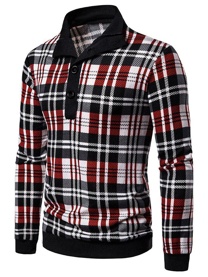 Plaid Print Half Button Vintage Pullover Sweater - RED S