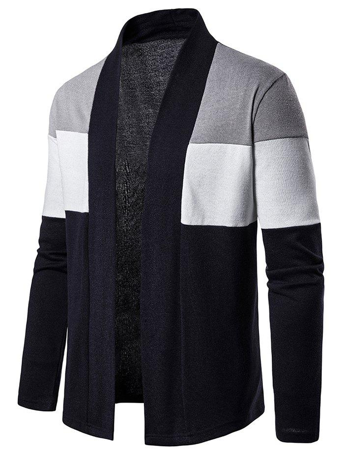 Color Block Open Front Long Sleeve Cardigan - GRAY S