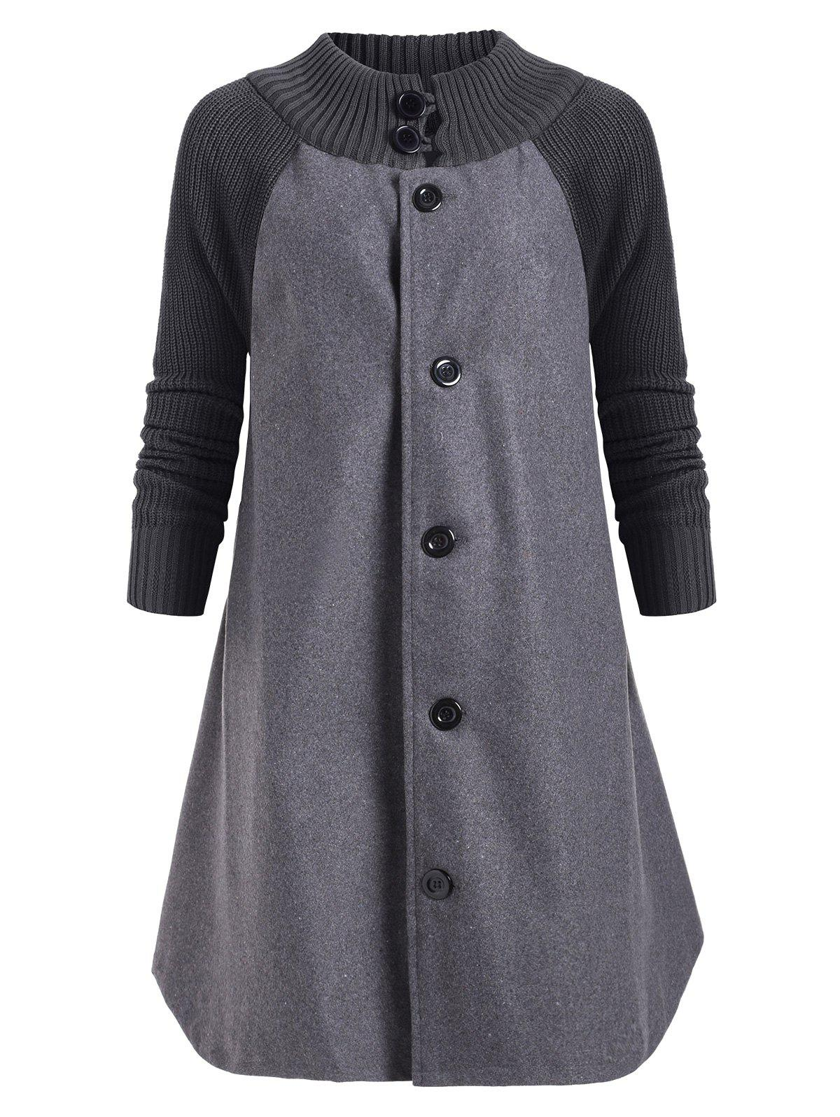 Button Up Raglan Sleeves Knitted Panel Coat - GRAY 2XL