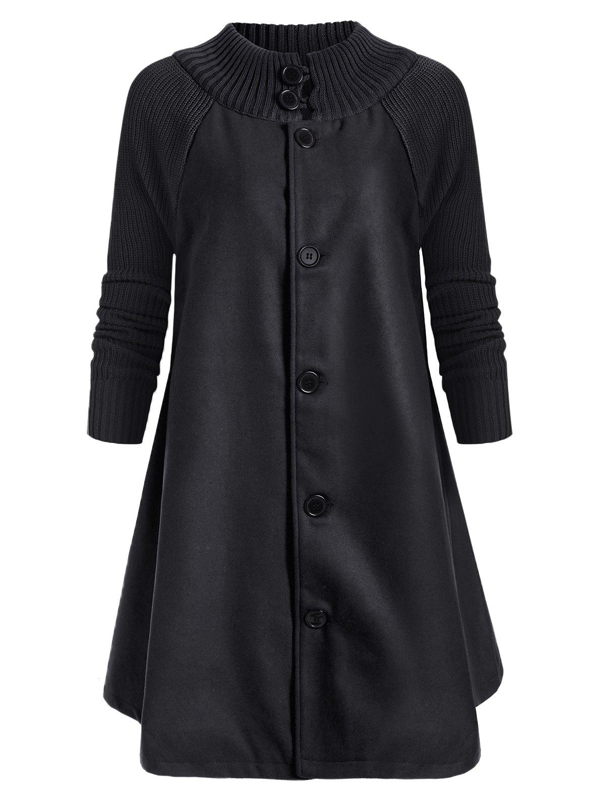 Button Up Raglan Sleeves Knitted Panel Coat - BLACK L