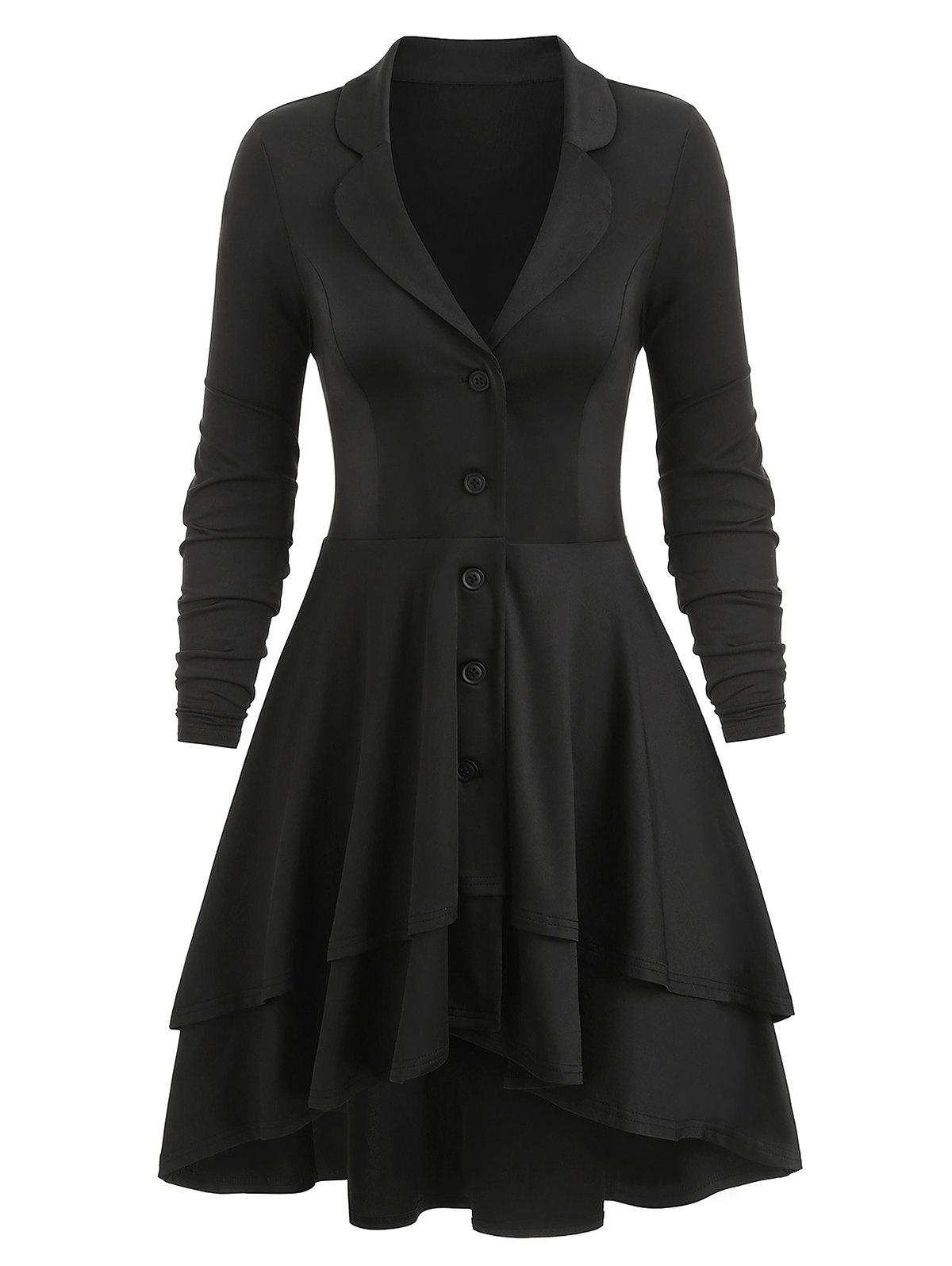 Button Up Lace-up Back High Low Layered Skirted Coat - BLACK M