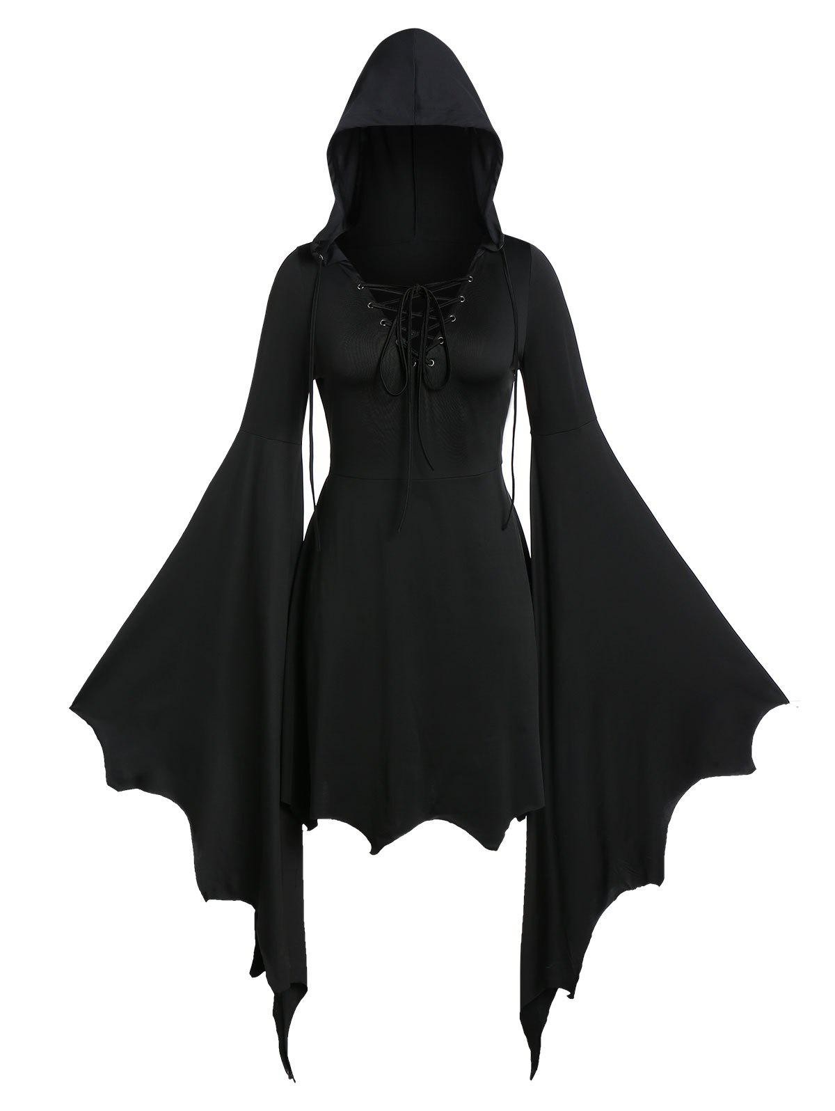 Plus Size Gothic Tunic Lace Up Solid Hoodie - BLACK 5X