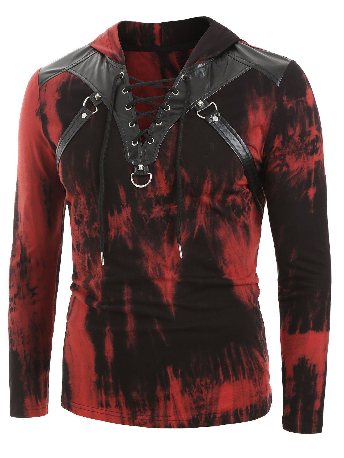 Tie Dye Print Lace-up Faux Leather Insert Hoodie - FIREBRICK M