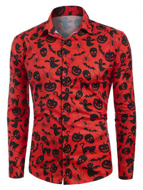 Halloween Print Button Up Casual Shirt - RED M