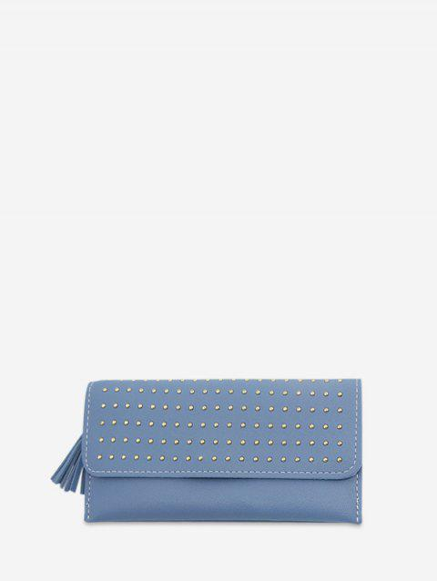 Rivet Retro Leather Wallet - BLUE GRAY