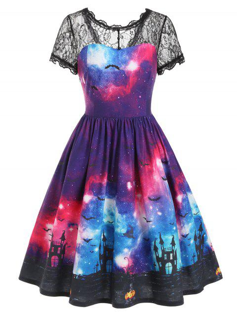 Bat Galaxy Lace Panel Halloween Flare Dress - multicolor 3XL