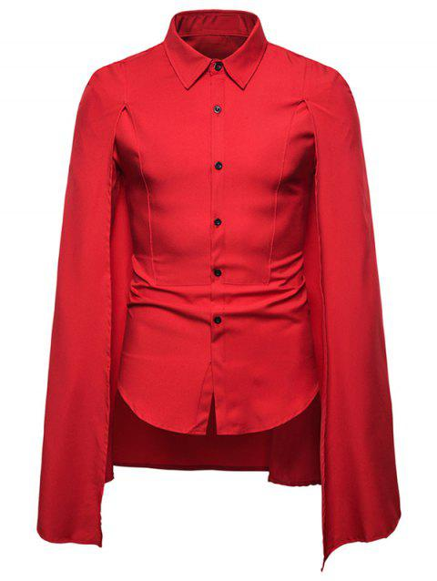 Chemise Cape d'Halloween Gothique Simple - Rouge 2XL