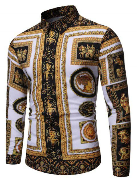 Vintage Baroque Print Long Sleeves Shirt - multicolor B L