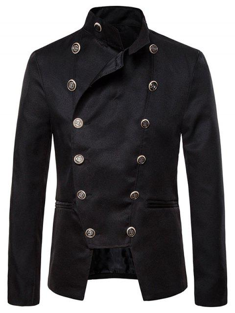 Gothic Double Breasted Stand Collar Blazer - BLACK L