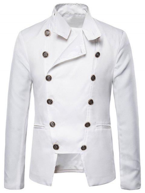 Gothic Double Breasted Stand Collar Blazer - WHITE 2XL