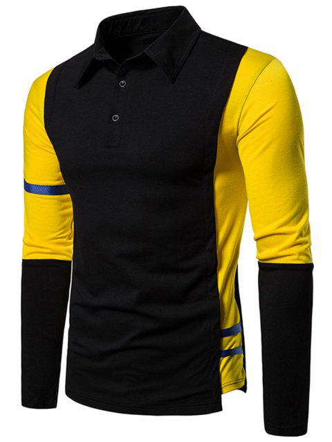 Striped Trim Two Tone Turn Down Collar T Shirt - BLACK M
