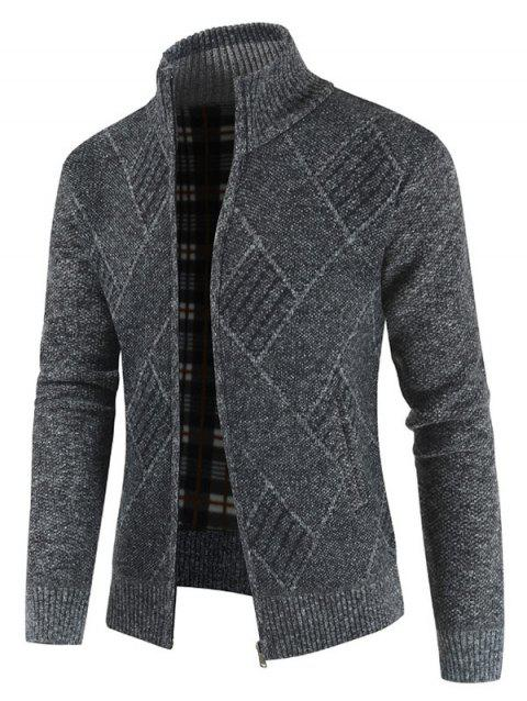 Casual Geometric Pattern Zip Up Cardigan - DARK GRAY 3XL