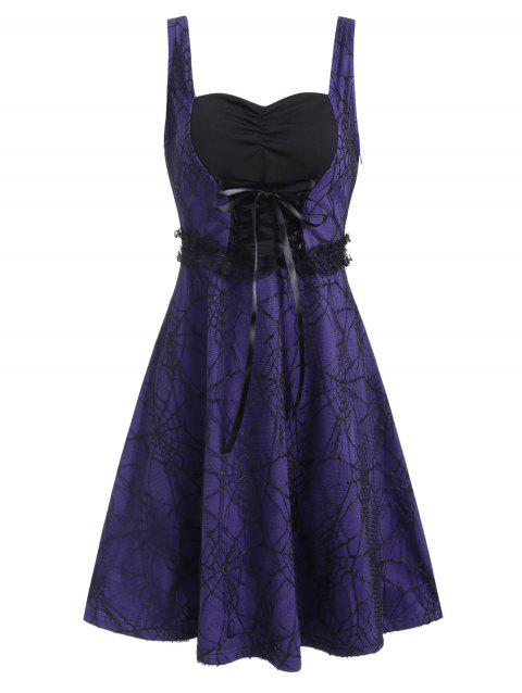 Halloween Spider Web Lace Sweetheart Lace-up Dress - PURPLE 3XL