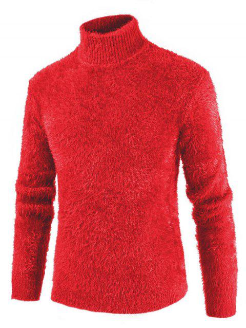 Solid Color Mock NeckLong Sleeves Sweater - RUBY RED 3XL