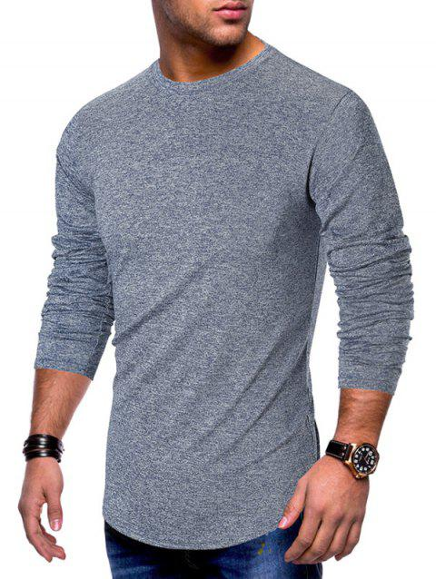 Long Sleeve Curved Hem Solid T-shirt - BLUE 2XL