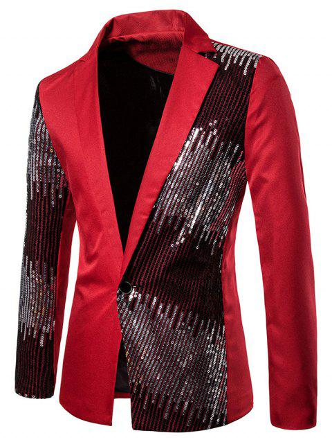 Shiny Sequined Panel Lapel One Button Party Blazer - RED L