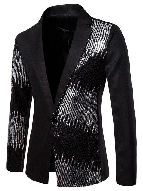 Shiny Sequined Panel Lapel One Button Party Blazer - BLACK 2XL