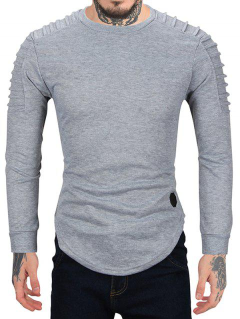 Pleated Sleeve Solid Color Curved Hem Sweatshirt - GRAY M