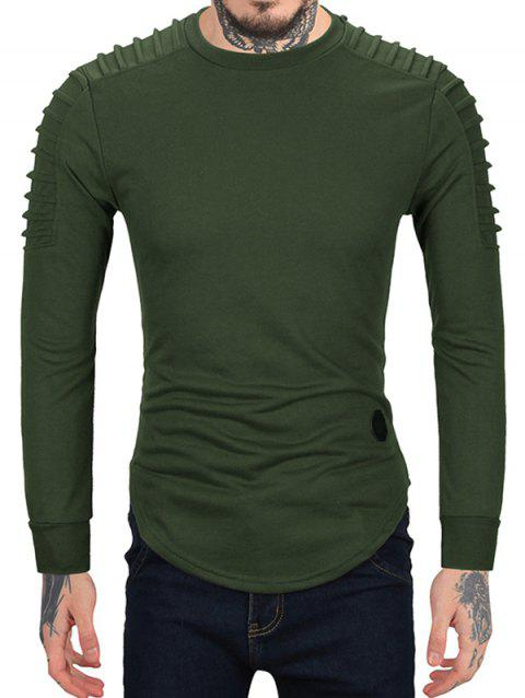 Pleated Sleeve Solid Color Curved Hem Sweatshirt - ARMY GREEN L