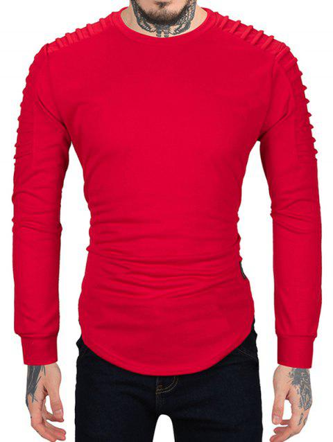 Pleated Sleeve Solid Color Curved Hem Sweatshirt - RED XL