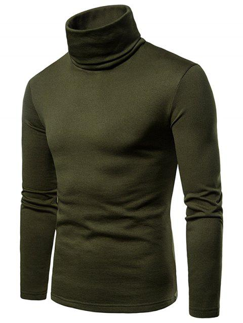 Solid Color Long Sleeve Turtle Neck Fleece T-shirt - ARMY GREEN M