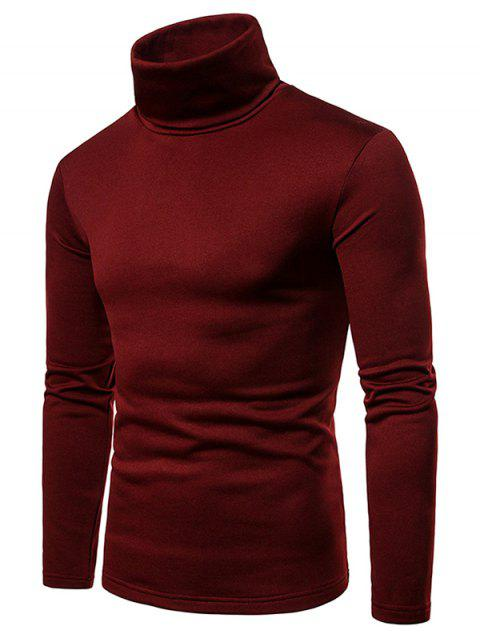 Solid Color Long Sleeve Turtle Neck Fleece T-shirt - RED WINE M