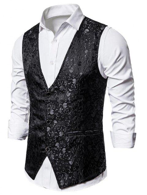 Jacquard Single Breasted Faux Pockets Vest - BLACK S