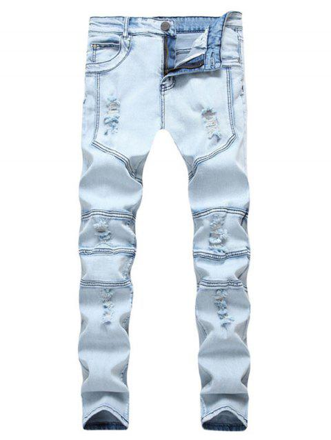 Ripped Stitching Design Casual Jeans - LIGHT BLUE 42