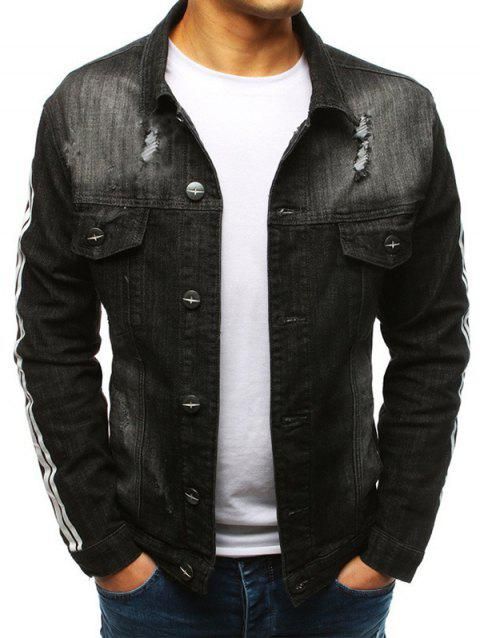 Casual Ripped Button Up Denim Jacket - BLACK L