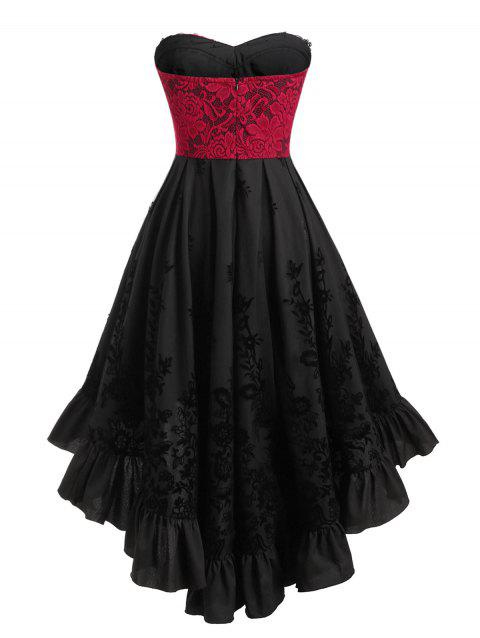 Plus Size Tube High Low Vintage Lace Up Corset Dress