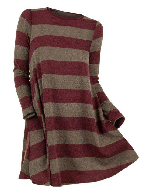 Plus Size Color Blocking Striped Knitwear - RED WINE 1X