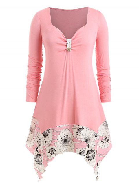 Plus Size Ditsy Print Tunic Sweetheart Neck T Shirt - FLAMINGO PINK 5X