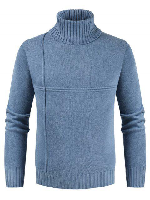 Solid Color Turtleneck Long Sleeves Sweater - DAY SKY BLUE 2XL